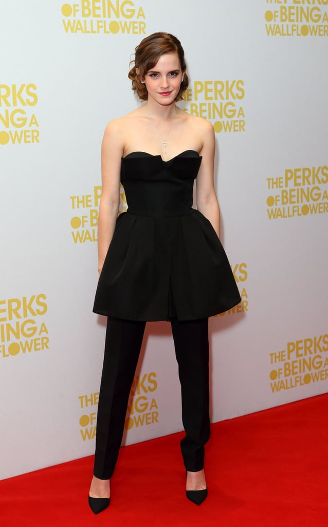 Emma Watson looked fashion-forward in a strapless Christian Dior mini ballgown worn over black pants at the London premiere of The Perks of Being a Wallflower.