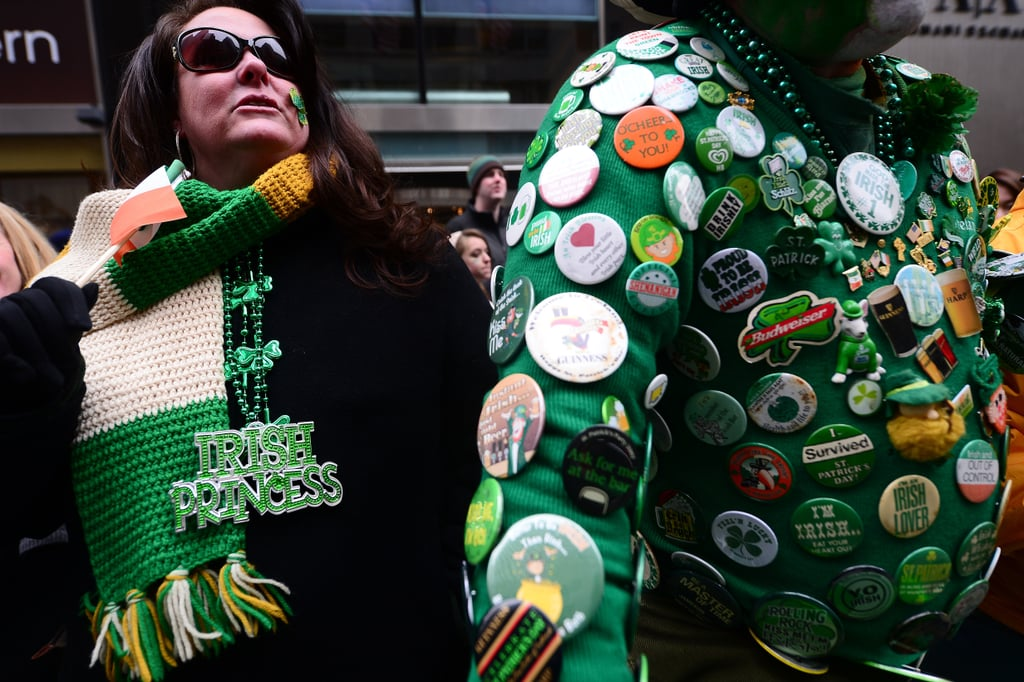 A man covered in festive buttons stepped out for the parade in NYC.