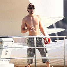Shirtless Enrique Iglesias in St. Barts With Anna Kournikova