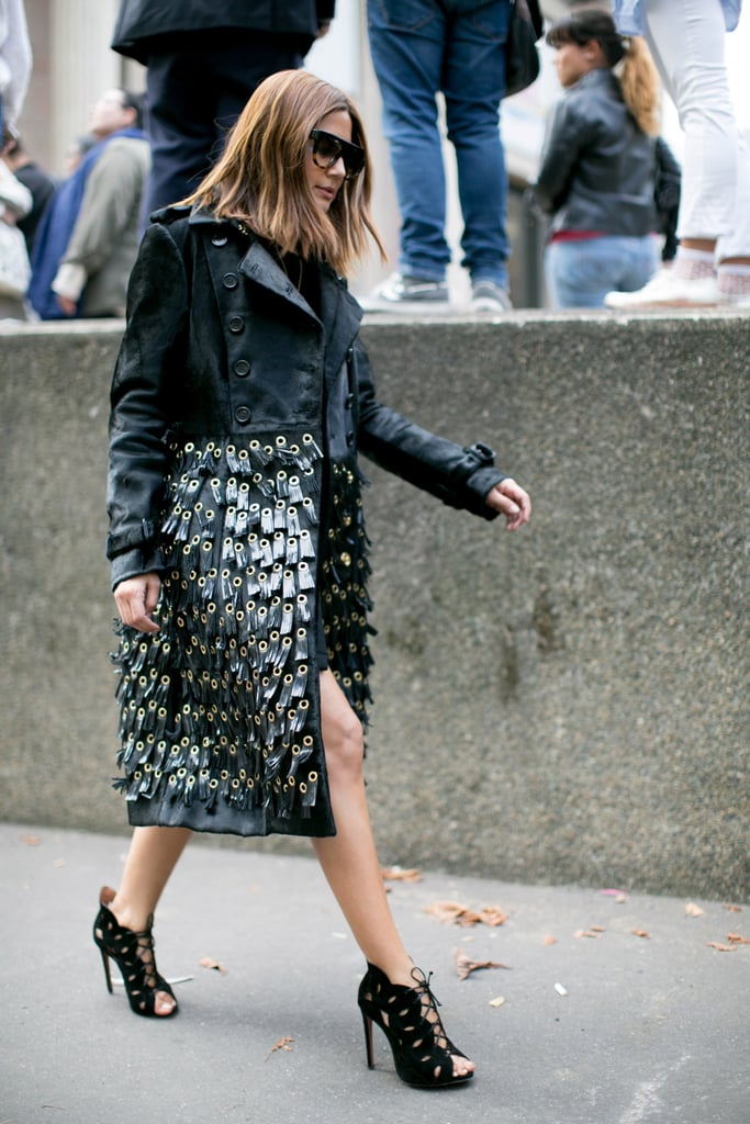 Christine Centenera took Burberry's grommet-covered coat to the streets.