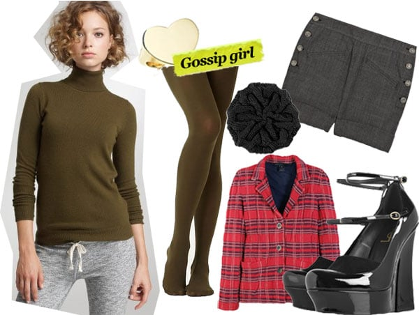 J.Crew Dream Sweater ($68), Paloma Picasso Double Modern Heart ring ($2,650), Anthropologie Opaque Tights ($13), Fred Flare Slouchy Beret ($24), Bird by Juicy Couture Tweed Shorts ($260), Marc by Marc Jacobs Plaid Blazer ($479), Yves Saint Laurent Palais Pumps ($1,060)
