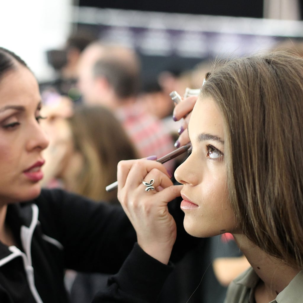 """To achieve a Middle Eastern influence, Val Garland for Sephora Pro created glowing, sun-kissed skin with a soft smoky eye. """"We're focusing on soft browns and neutrals,"""" said Sephora Pro David Thibodeau. Key products included Sephora Waterproof Jumbo Liner in Dark Brown Matte ($14) and Urban Decay Eye Pencil in Bourbon ($19)."""