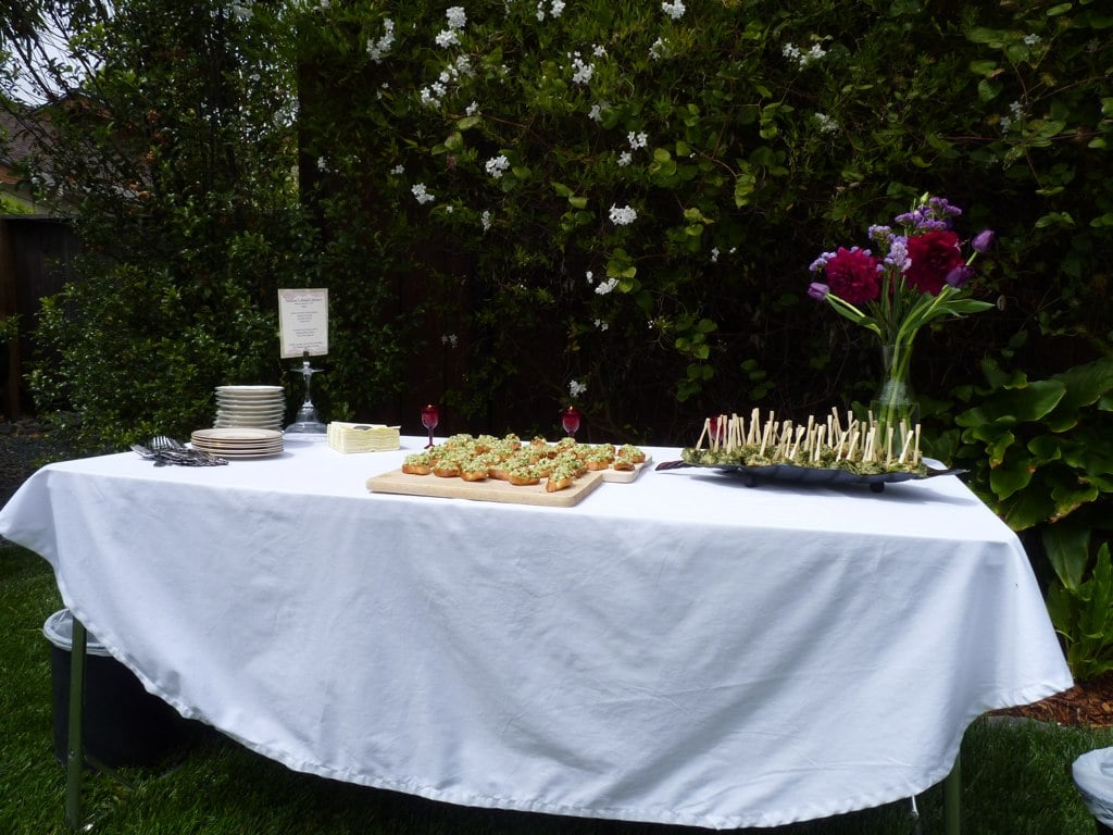 To create a flow and encourage people to mingle, I set up stations. This station was the food table.