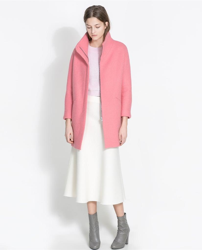 Zara Pink Boucle Coat