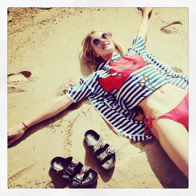 Rosie Huntington-Whiteley sported a red bikini and Birkenstocks during her beach day in Hawaii. Source: Instagram user rosiehw
