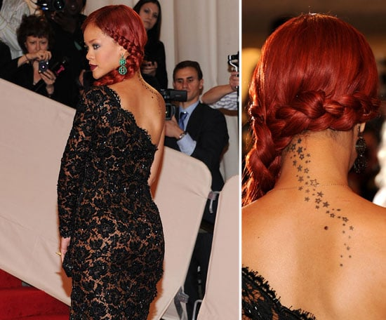The group of stars on the back of Rihanna's neck were completed in different sittings.