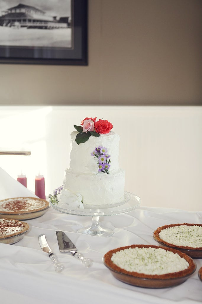 From the florals to the white frosting, everything about this cake is timeless.