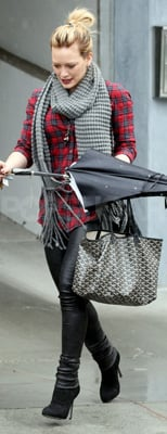 Hilary Duff Wears Red Plaid