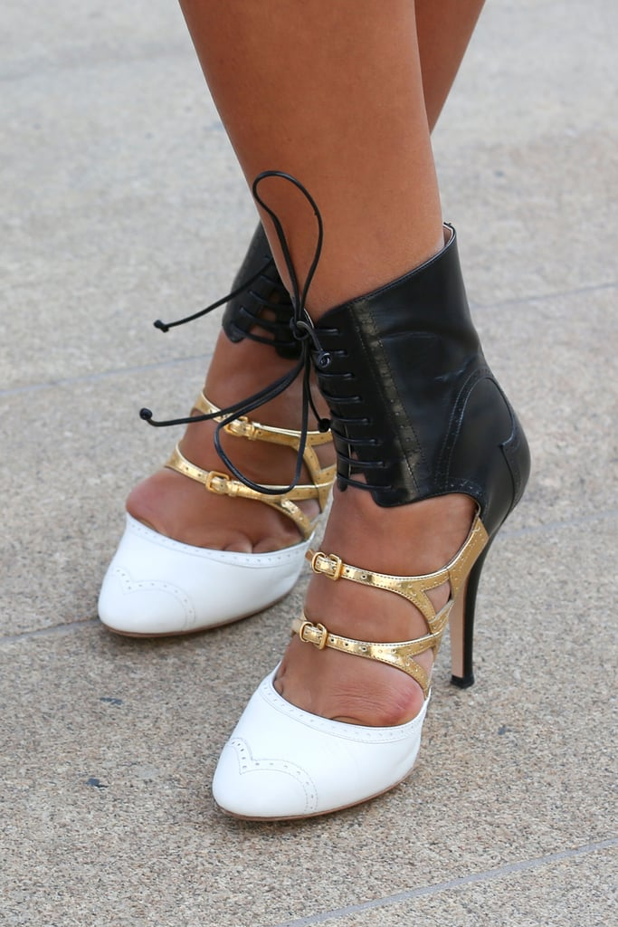 Lace-up ankle straps and gold straps gave these heels serious personality.