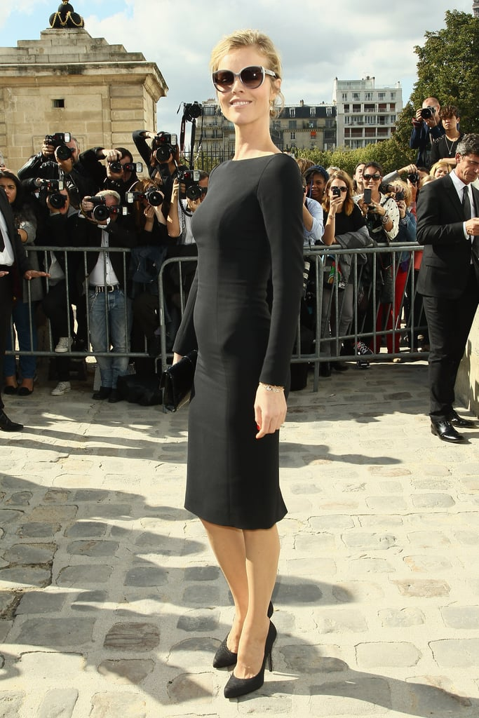 Eva Herzigova showed off her figure in a fitted black dress.