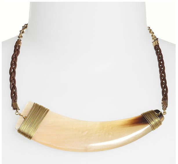 Nothing says nomadic style more than a horn pendant necklace handcrafted with braided leather cords.  Spring Street Design Group Horn Necklace ($34)