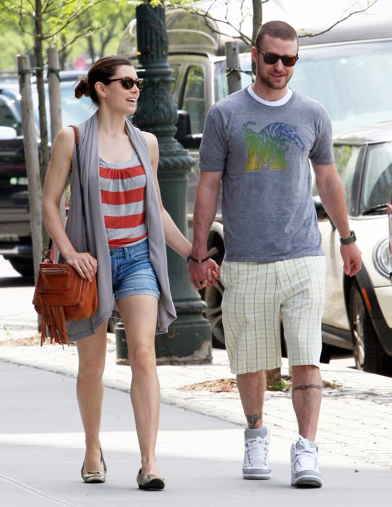 The duo held hands during a May 2010 walk around NYC.