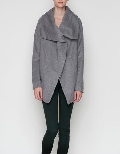 Shawl Collar Coat In Grey