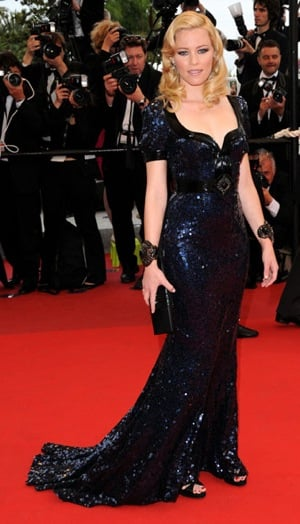 Actress Elizabeth Banks Wears Black and Blue Beaded Andrew Gn at 2009 Cannes Film Festival
