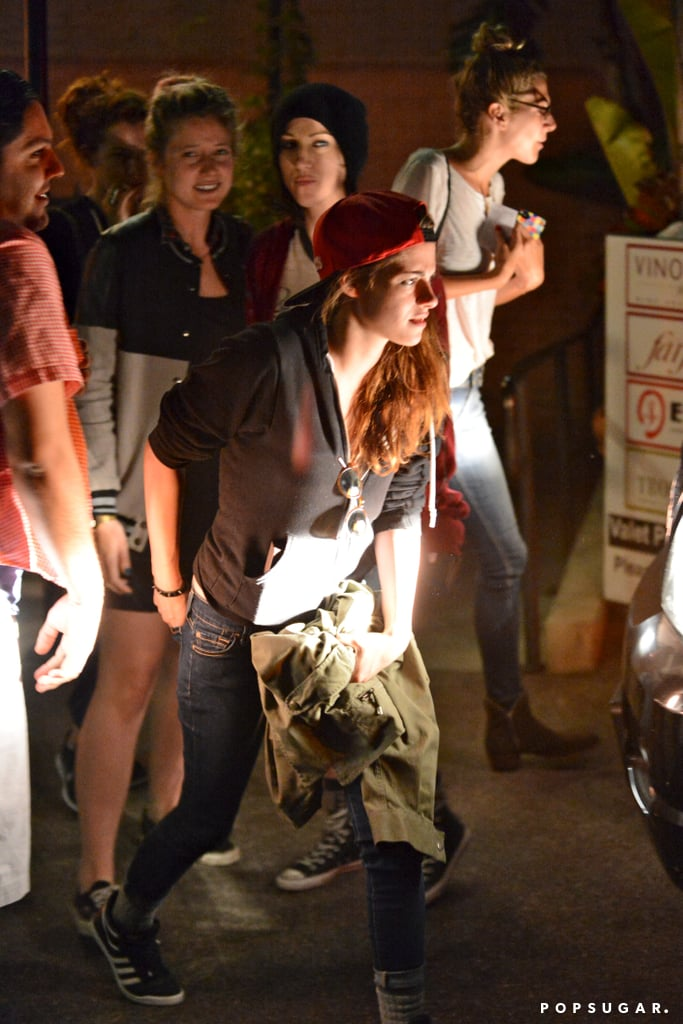 Kristen Stewart left En Sushi with a group of friends.