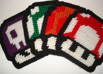 Hand-Knitted Mario Mushroom Coasters From Etsy