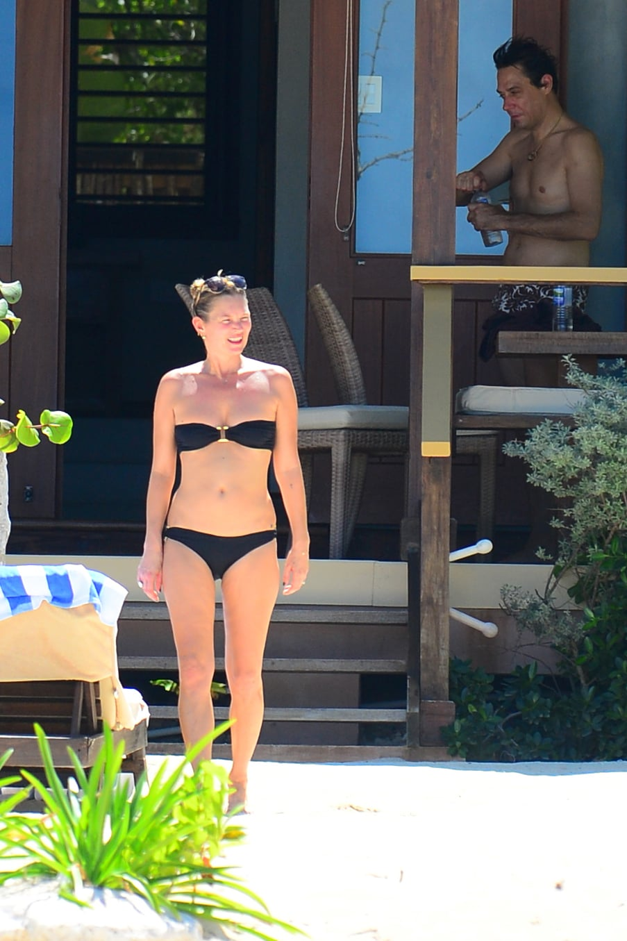 Kate Moss, wearing a Melissa Odabash bikini, relaxed with husband Jamie Hince on their vacation.