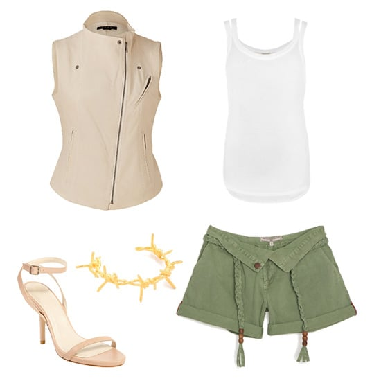 Nude and army green form an understated Spring color duo but still pack major punch. We started with a nude biker vest and a basic white tank, then added army-green shorts, minimalistic nude sandals, and a statement bracelet for just a bit of edge. Get the look:  Theory lambskin biker vest ($760) AllSaints white tank ($58) What Goes Around Comes Around army shorts ($180) Elizabeth and James nude ankle-strap sandals ($298) Tom Binns barbed wire cuff ($315)