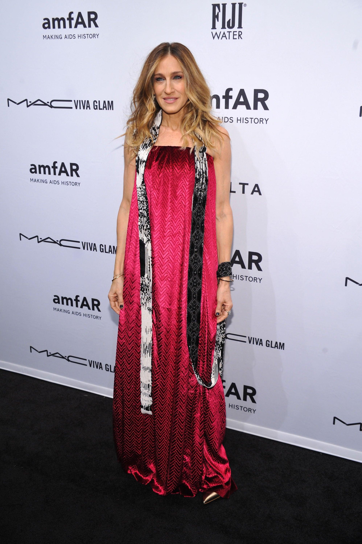 Sarah Jessica Parker wore an avant-garde pink dress to the amfAR New York Gala on Wednesday.