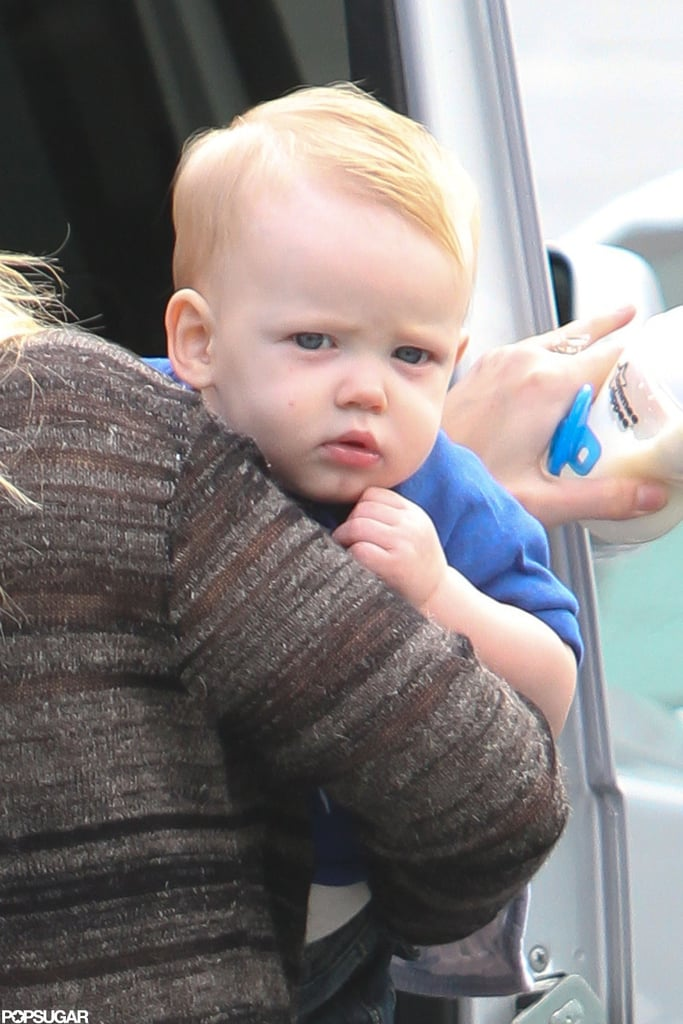 Hilary Duff's son, Luca, held onto her while out in LA.