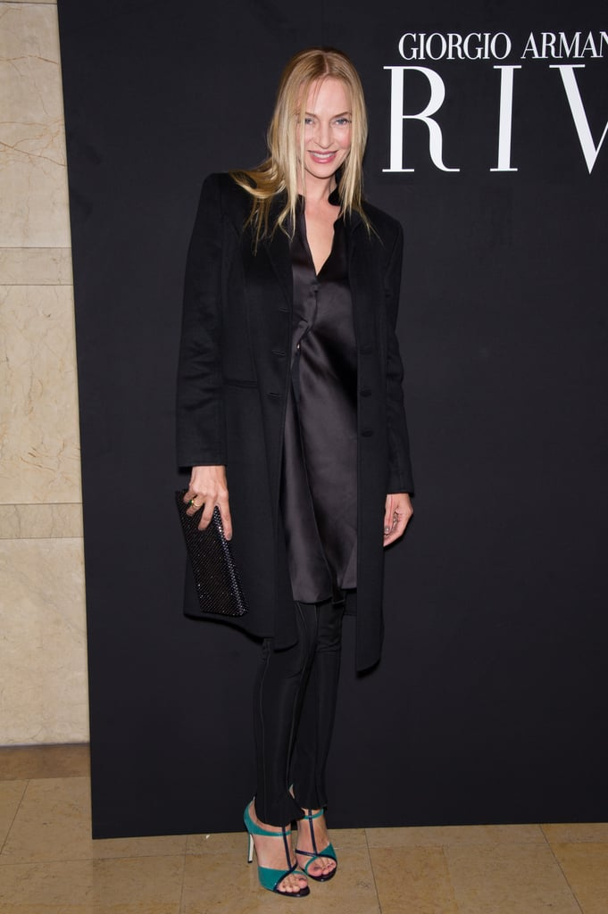 Uma Thurman's all-black look for the Giorgio Armani show was all about her turquoise shoes.