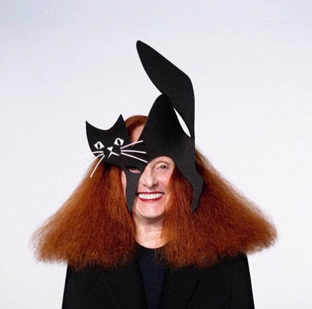 Grace Coddington had no superstitions about Stephen Jones's black cat. Source: Instagram user voguemagazine
