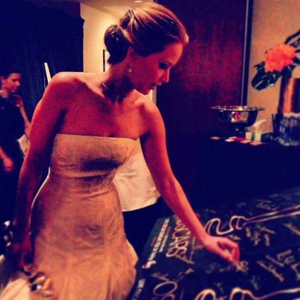 Jennifer Lawrence signed the winner's poster after being named best actress. Source: Instagram user theacademy