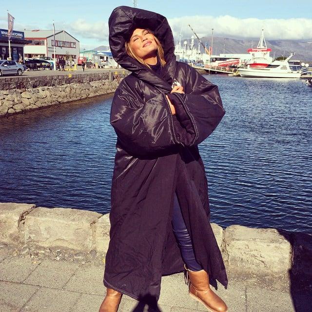 Chrissy Teigen stayed warm with a puffy coat in Iceland. Source: Instagram user chrissyteigen