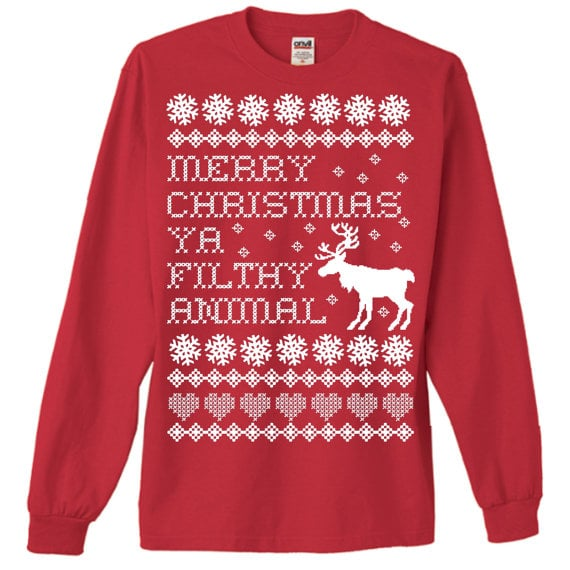 Wearing this Source Shop Filthy Animal Holiday Sweater ($24) will definitely separate the men from the boys. If someone doesn't know where this quote is from, then stop talking to them immediately.