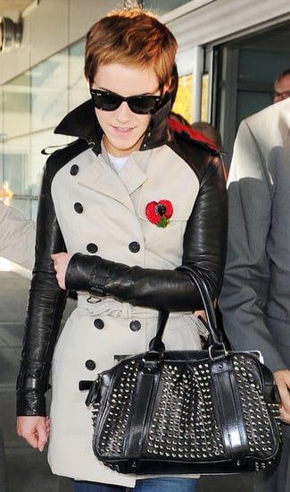 Photos of Emma Watson in Burberry Trenchcoat with Leather Sleeves