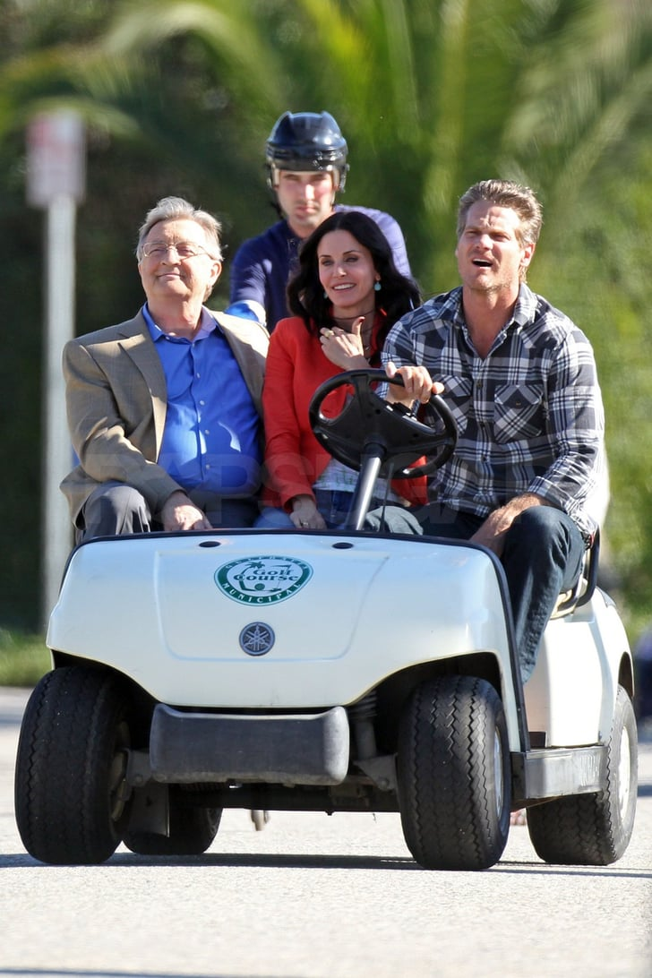 Pictures of Courteney Cox and the Cougar Town Cast Shooting a Funny Scene in LA