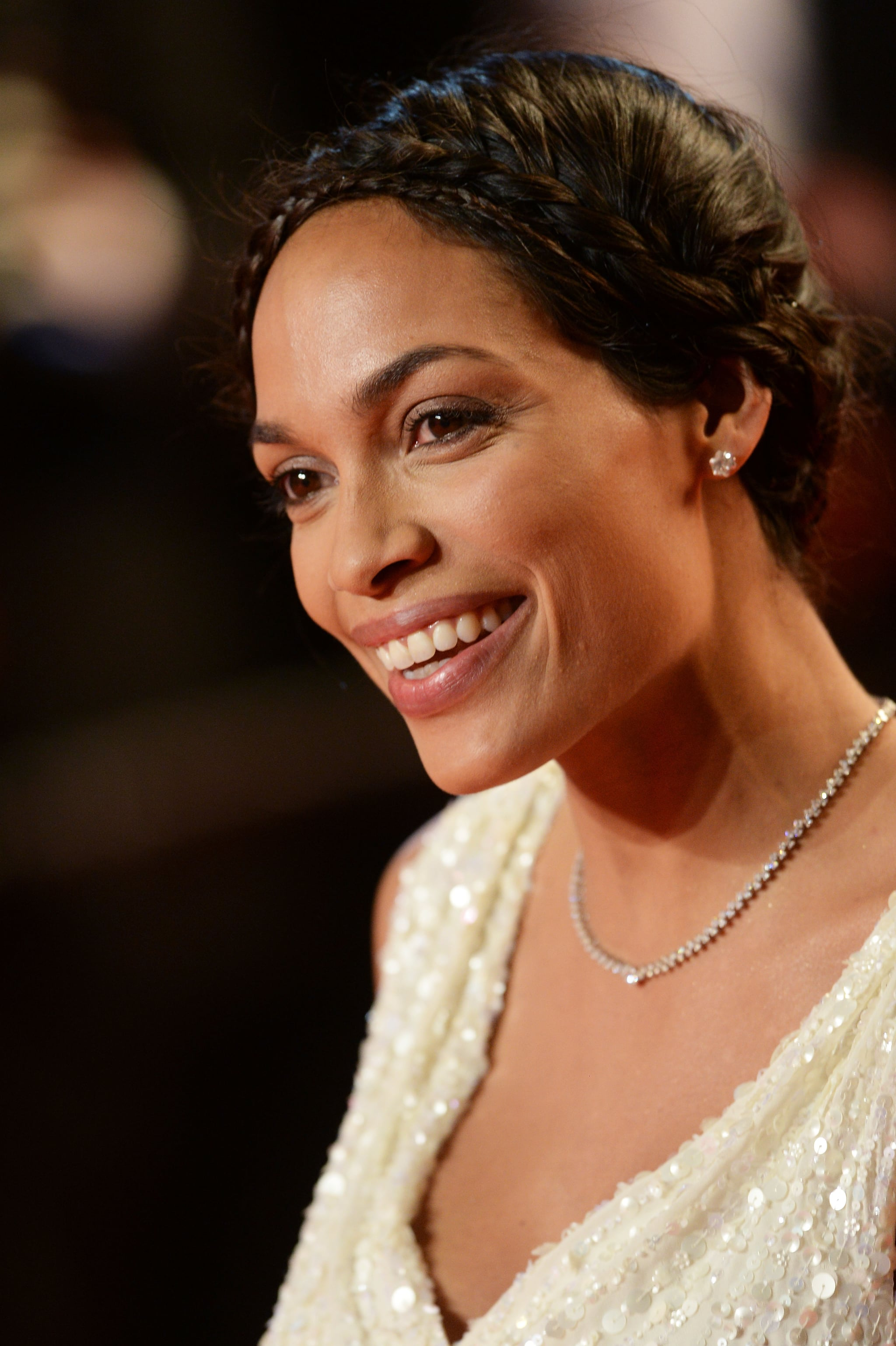 For her turn on the red carpet at the premiere of As I Lay Dying, Rosario Dawson stunned in glowing makeup and a delicate crown of braids.