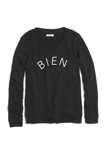 "Your Francophile friend will appreciate the Parisian-cool vibe of Madewell's bien fait sweatshirt ($75). The black and white top features the word ""bien"" on the front and ""fait"" on the back — ""made well"" in French. — Laura Marie Meyers, assistant news editor"