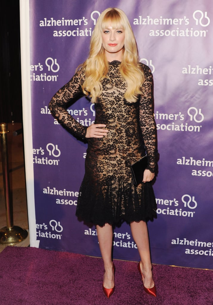 Beth Behrs from 2 Broke Girls wore a lace number.