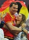 Letizia and Felipe shared a big embrace while watching Spain beat Russia during during the Olympic basketball semifinals in August 2012.