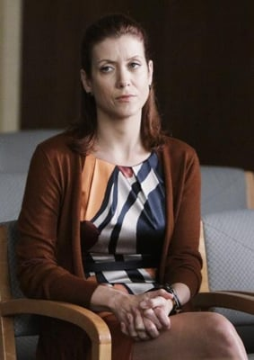 Addison Montgomery Style in Printed Dress and Brown Cardigan on Private Practice