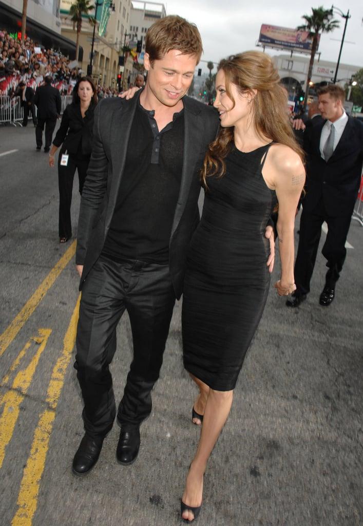 Brad Pitt and Angelina Jolie kept close at the June 2007 LA premiere of his buddy flick Ocean's Thirteen.