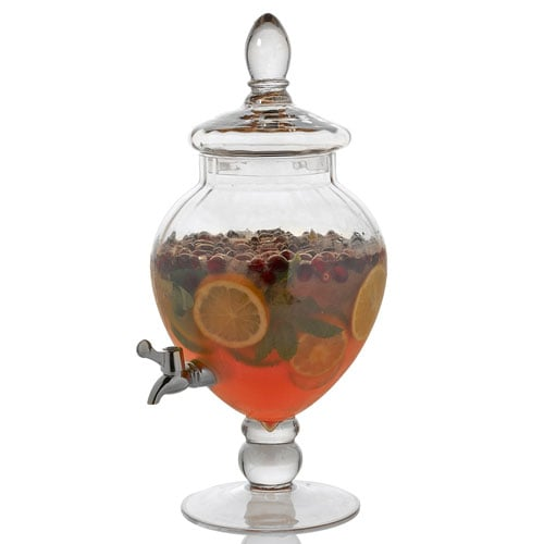 Clear Glass Pedestal Beverage Server