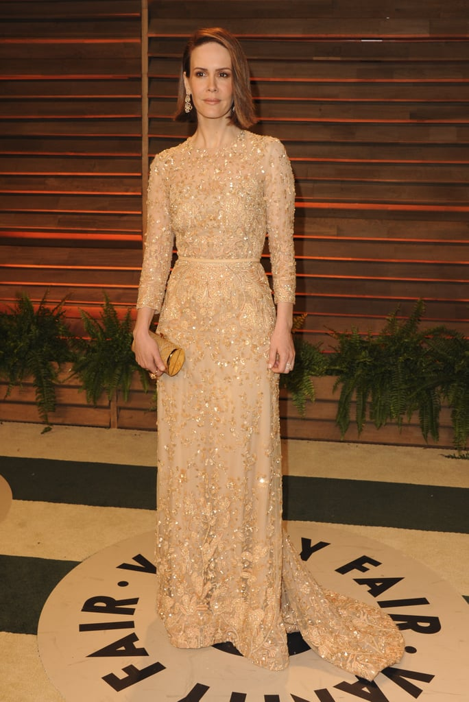 Sarah Paulson went for a nude-colored dress.