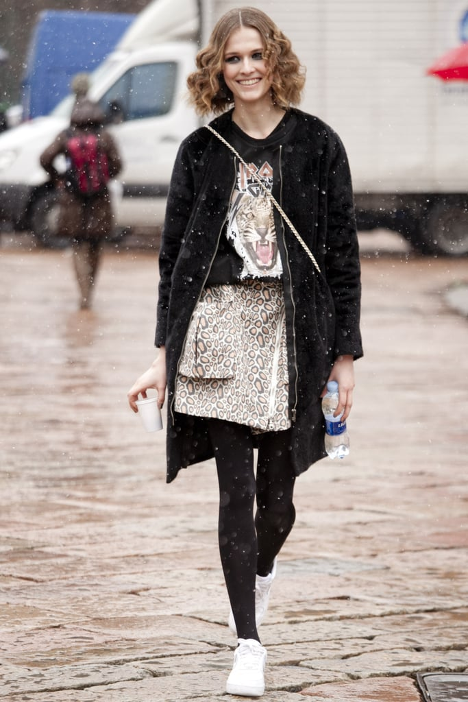 This showgoer carried the wild-cat theme through on her t-shirt and leopard-print skirt.