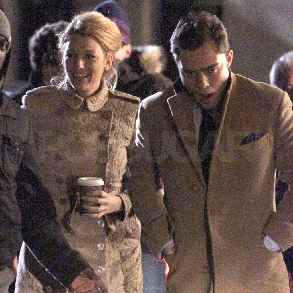 Blake Lively and Ed Westwick tried their best to keep warm in the chilly Big Apple.