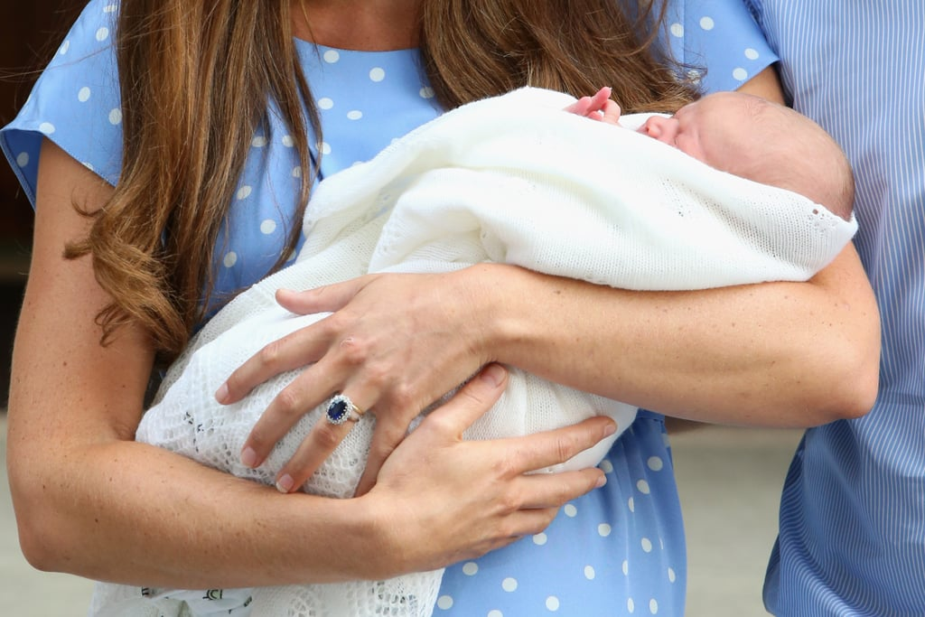 The royal baby was on display — along with Kate Middleton's beautiful ring — as the couple left St. Mary's Hospital.
