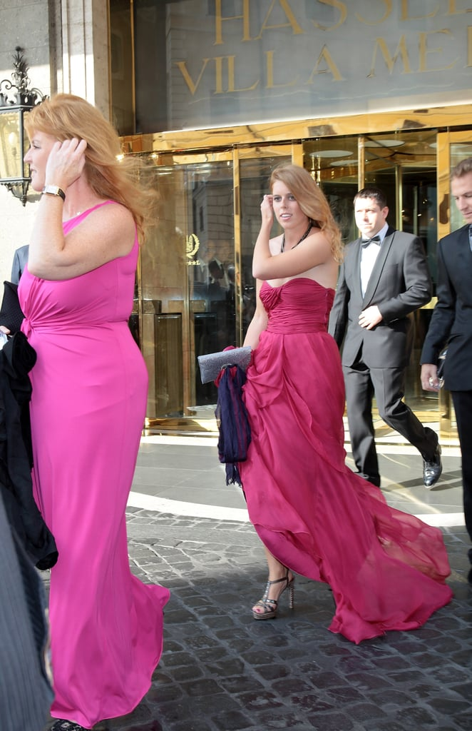 Fergie and her daughter Princess Beatrice exited their Roman hotel before the wedding.