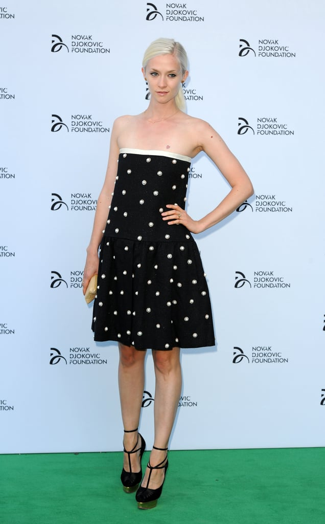 Portia Freeman did black and white right on the green carpet for the Novak Djokovic Foundation fete.
