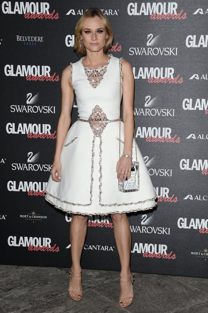 Diane looked lovely in this silver embellished Chanel Couture look at the Glamour Awards in 2014.