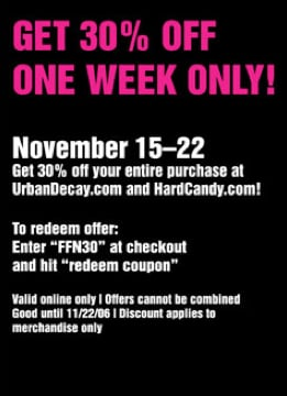 Friends and Family Discounts: Hard Candy and Urban Decay