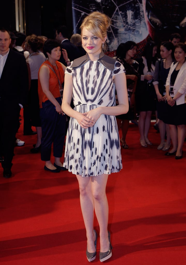 Emma Stone wore a black and white Stella McCartney dress.
