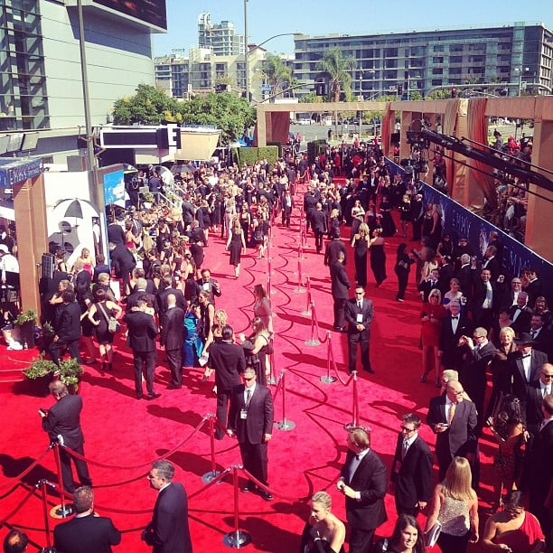 Kelly Osbourne snapped a shot of the red carpet from her bird's eye view. Source: Instagram user kellyosbourne