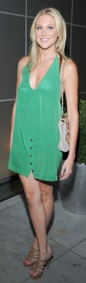 Stephanie Pratt Wears Green Silk Dress in LA