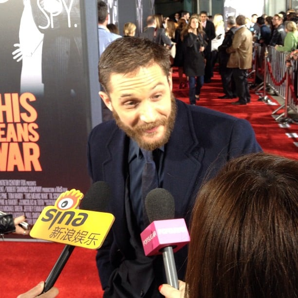 A scruffy Tom Hardy stopped to chat us up at the premiere of This Means War.
